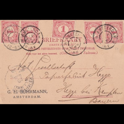 Post card Amsterdam 1904 to Hegge bei Kempten