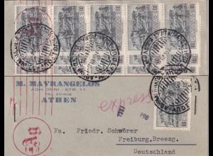 Post card Athen 1944 nach Freiburg mit OKW Zensur, Massenfrankatur