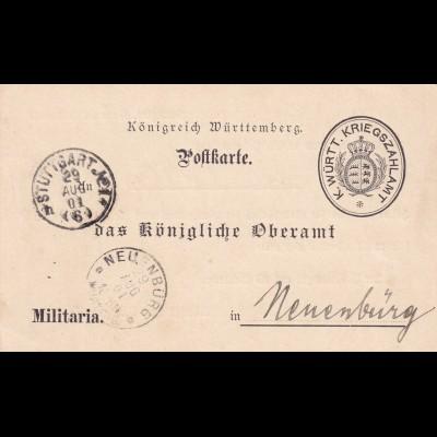 Postkarte 1901 Stuttgart Haftvollzugskosten nach Neuenburg, Militaria
