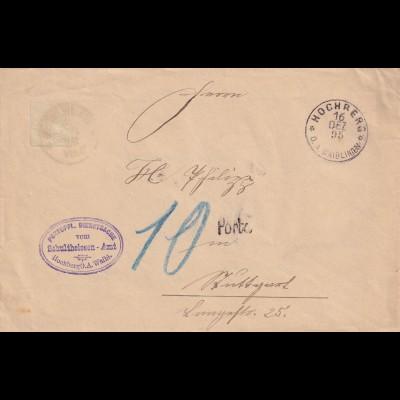 Hochberg / Waiblingen 1895 nach Stuttgart, portopfl. Dienstsache, Nachporto