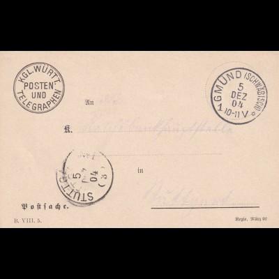Schwäbisch Gmünd 1904, Postsache nach Stuttgart, Telegraphen Posten