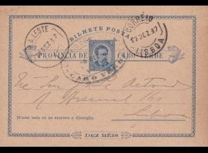 Post card P1, 1887 Cabo Verde, R.A. Leste to Lisboa
