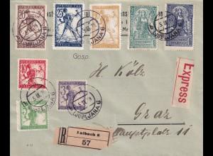 Laibach Einschreiben/Eilboten 1919 Ljubljana nach Graz