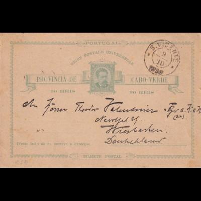 Post card Cap Verde, S. Vicente, 1890 to Wiesbaden, S.M.S Nixe, Schiffspost