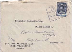 Curaco, West India, Ship post to Hamburg, forwarded to Berlin