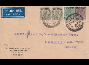 Burma Rangoon 1938 via air mail to Berlin