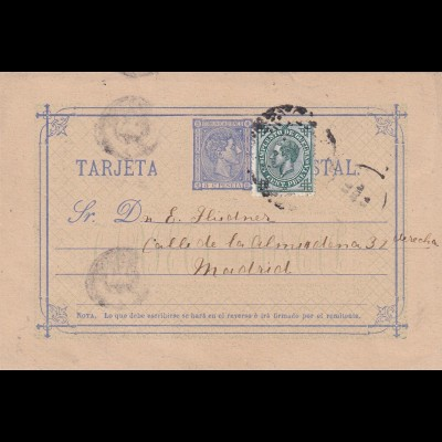 post card Valladolid to madrid, war tax stamp