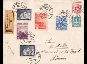 Einschreiben Bruck a.d.Leitha in die Schweiz 1935. Rücks. Vignette Zeppelin