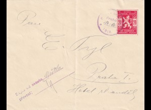 cover 1918 to Prag, Pfadfinder, Boy scout with signature