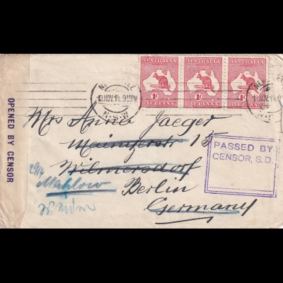 cover 1914 Newcastle NSW to Berlin, censor