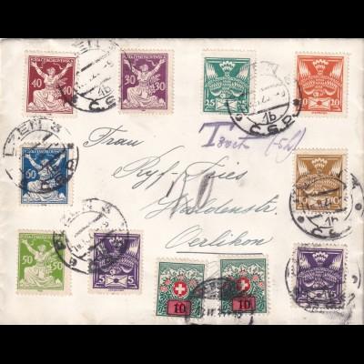 cover Pilsen to Oerlikon/Schweiz, Taxe 1925