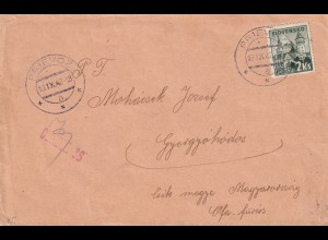 cover Prievoz 1942 to Hungary, censor