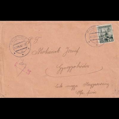 cover Prievoz 1942 to Hungary, censor