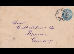 cover St. Thomas 1889 to Bremen
