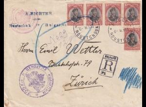 Registered Pycce to Zürich, censor