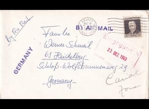air mail Balboa Canal Zone 1963 to Heidelberg, sender MS Karpfangen