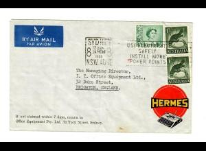 air mail Sydney 1961 to Brighton, typing machine