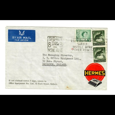 air mail Sydney 1961 to Brighton, typing machine