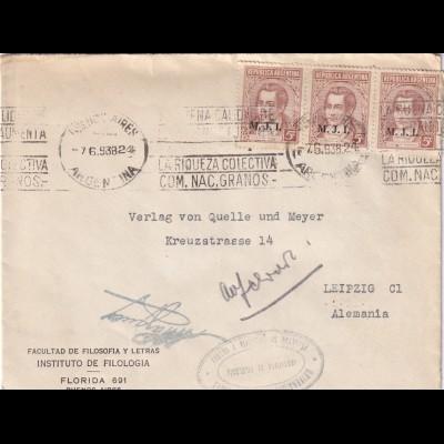 University Filosofia y letras, Buenos Aires 1938 to Leipzig
