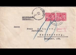 cover Tahiti, Marine Post office R.M.S. Makura to Heidelberg, Taxe