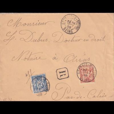 cover 1898 St. Denis s Seine to Pas-de-Calais 1898