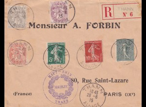 Thann: French post office on German territory 1915, after Versailles to France