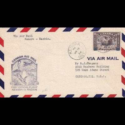 air mail First official Flight Kenora to Machin, 1936 to Chicago Ill