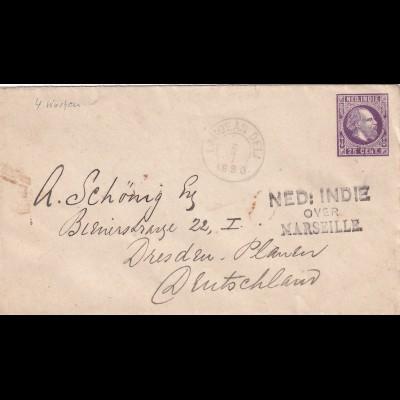 NL India: 1890 Laboean Deli to Dresden: Via Marseille/Singapore