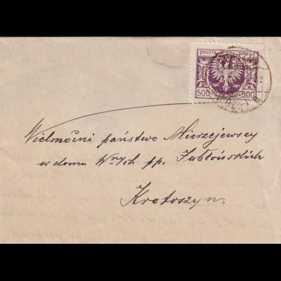 1923 Brief nach Krotoszyn, mit Briefinhalt, Verschlussmarke Dobroczynny cel