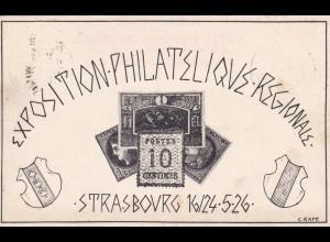 post card 1926, Strassbourg Exposition Philatelique