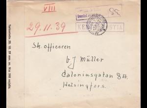 Feldpostbrief 29.2.1939 von Finnland, dt. Soldat