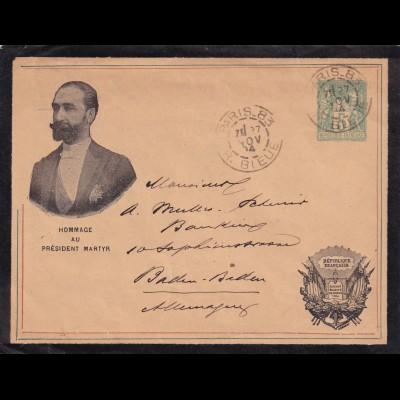 Trauerbrief Paris 1894 to Baden Baden, Hommage au President Martyr