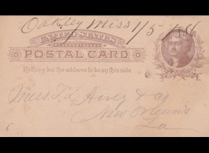 post card Oakley Miss 1886 to New Orleans