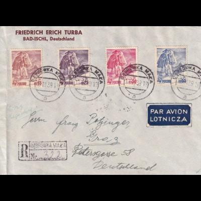 Einschreiben air mail 1939 Dabrowka Maza nach Graz, Devisenkontrolle