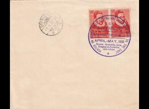 NL India, Nieuw Holland 1933 Post route Australia Java, Sing. Sumatra and return