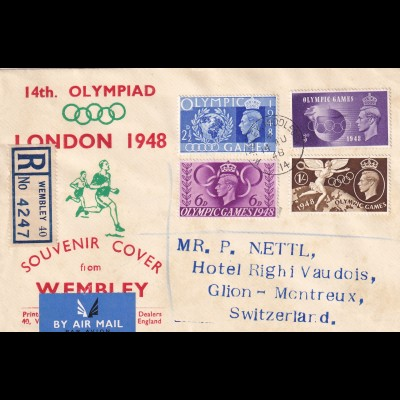 Olympia 1948, London, Registered Wembley to Switzerland, Glion, air mail