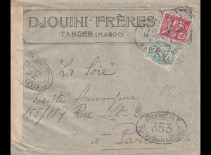 cover Tanger to Paris, french censorship militaire