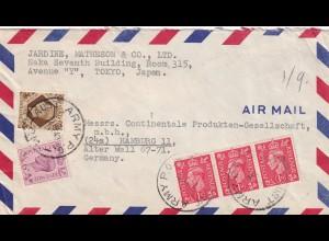 air mail Tokyo to Hamburg, Australian Army 1949, business letter via Field post