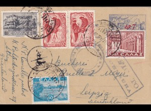 post card 1943 Athen to Leipzig with italien censorship