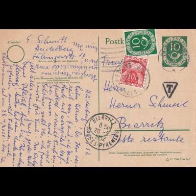 Ganzsache 1952 Heidelberg nach Biarritz, Taxe