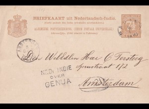 post card NL India 1891 via Genua to Amsterdam