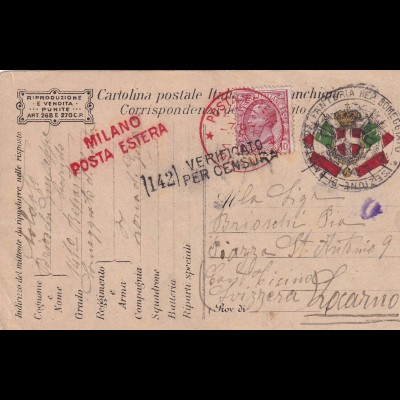 post card Milano Posta Estera 1917 to Locarno, Censura, Field Post