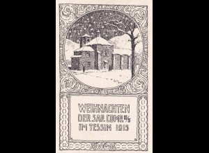 Feldpost Weihnachtskarte 1915 Tessin nach Zürich, Grenzbesetzung