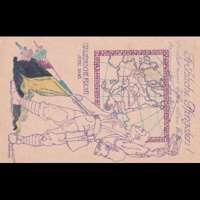Pfingsten Feldpost Italienische Front 1916 nach Kaufbeuren