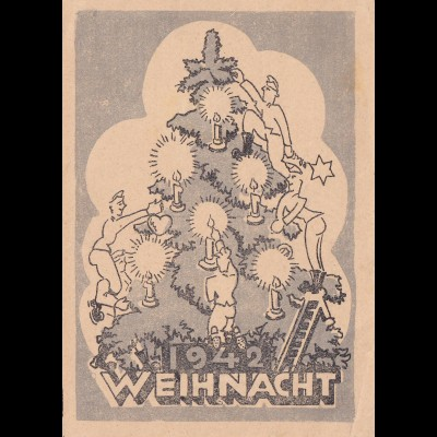 1942 FP Weihnachtskarte 1942 nach Freital-Dresden