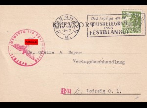post card Kopenhagen 1942 to Leipzig, OKW censorship