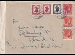 Luxemberg 1946 Brief mit Zensur nach Hamburg
