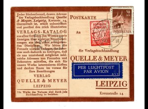post card air mail 1951 to Quelle in Leipzig, catalog order