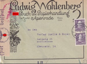 cover Apenrade 1944, german book store to Leipzig, censor