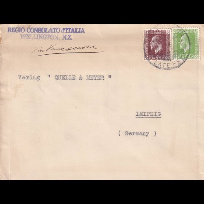 cover Willington N.Z. 1950, ital. Consulate, Late fee to Leipzig